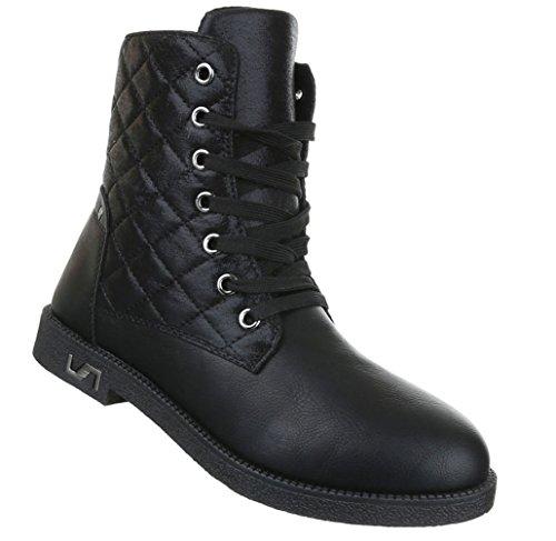 Damen Stiefeletten Schuhe Kurzschaft Worker Boots Schwarz Grau 36 37 38 39 40 41 Schwarz