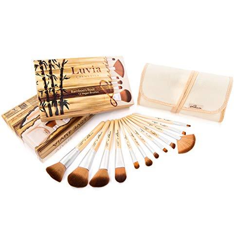 LUVIA Cosmetics LC de Br de Br de 01 Kit pinceaux de maquillage de végétalien - 12 Pinceaux en kit avec véritable Poignées de bambou et élégante Pouch pour les peaux sensibles