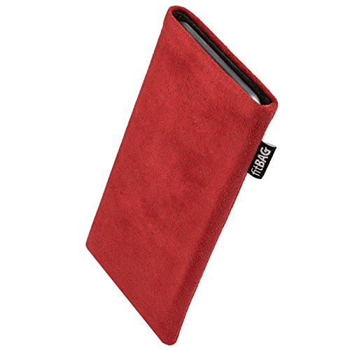 fitBAG Classic Rot Handytasche Tasche aus original Alcantara mit Microfaserinnenfutter für Obi Worldphone SJ1.5 | Hülle mit Reinigungsfunktion | Made in Germany