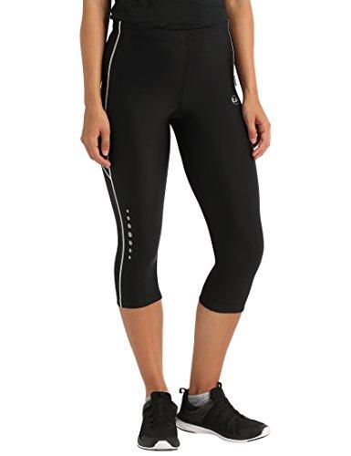 Ultrasport Pantalones pirata de correr para mujer con efecto de compresión y función de secado rápido, Negro/Blanco, XS