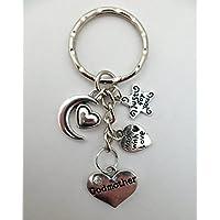 LOVE HEART KEYRING Godmother Gem Charm Pendant