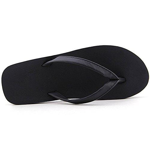 Eastlion Frauen und Herren Sommer Hausschuhe Flip Flops Strings Strand Hausschuhe Schuhe Schwarz