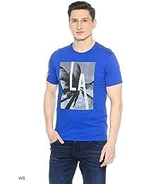 Guess T-shirt Homme Look Through Bleu