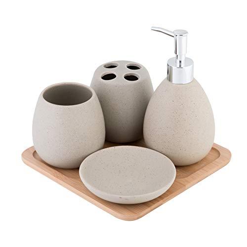 Axentia Avignon Set Accessori Bagno, Ceramica, Marrone, ca. 23 x 30 x 11 cm, 5 unità