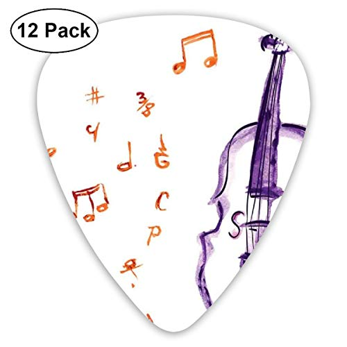 Guitar Picks - Abstract Art Colorful Designs,Musical Notes Instrument Violin Cello In Watercolors Style White Backdrop Print,Unique Guitar Gift,For Bass Electric & Acoustic Guitars-12 Pack -