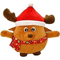 Muñeco Reno Peluche Musical Cojin Luminoso LED OULII Cojin Decorativo Figura Navidad 22cm