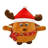 OULII Singender Rentier Weihnachten Kuscheltiere LED Plüschtiere Weihnachtsgeschenk für Kinder 35 cm