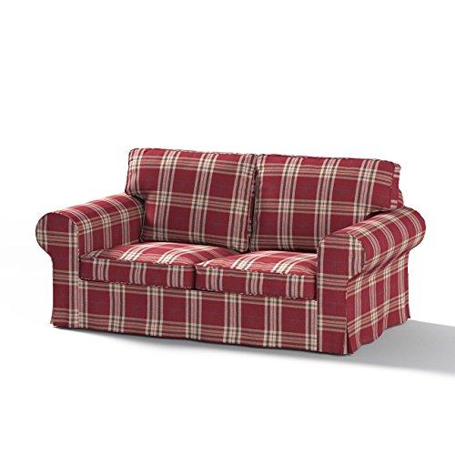Ektorp Sofa (Dekoria Bezug für Ikea Ektorp Sofa (Zweisitzer), feuerhemmend, karierter Schottenstoff, Burgunderrot)