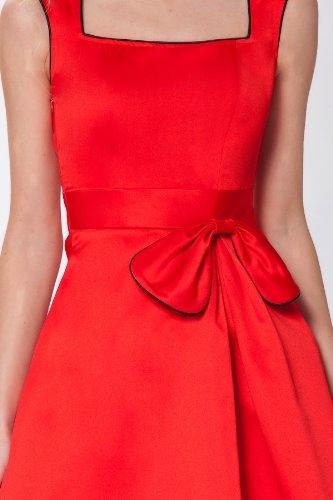 SEXYHER 'Grace' Stil noble Vintage 1950 Rockabilly Bow Dress - RBJ1409 Rot