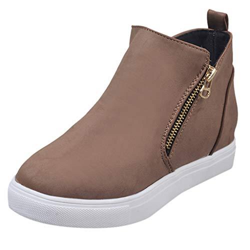 Xuthuly Frauen beiläufige Reine Farbe erhöhen Keil-Reißverschluss einzelne Schuhe einfache Bequeme Flache Knöchel-Aufladungen im Freienlaufschuhe