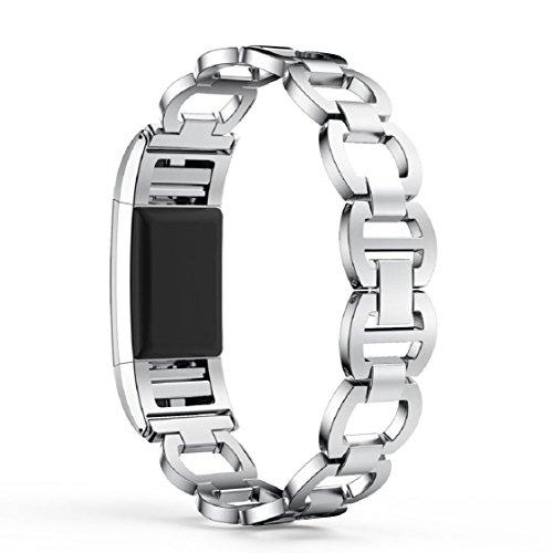 Silber Sport Armband (Vovotrade ❤❤ Für Fitbit Charge 2 echtes Edelstahl Armband intelligentes Uhr Band Bügel für Fitbit Gebühr 2 (Silber))
