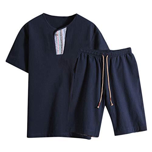 TIMEMEAN Herren Overall Jumpsuit Kurz Sommer Bettwäsche Aus Baumwolle Kurzarm Shorts Set Trainingsanzug -