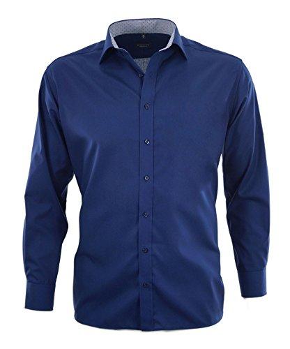 ETERNA uomini SLIM FIT long sleeve shirt dark blue 15 3/4 Normal (26 1/2 inch) .