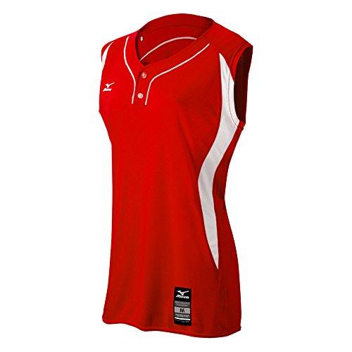 Mizuno Damen Erwachsene Fastpitch Softball Elite 2Tasten Spiel ärmellos Jersey, Rot-Weiß, 3X Große