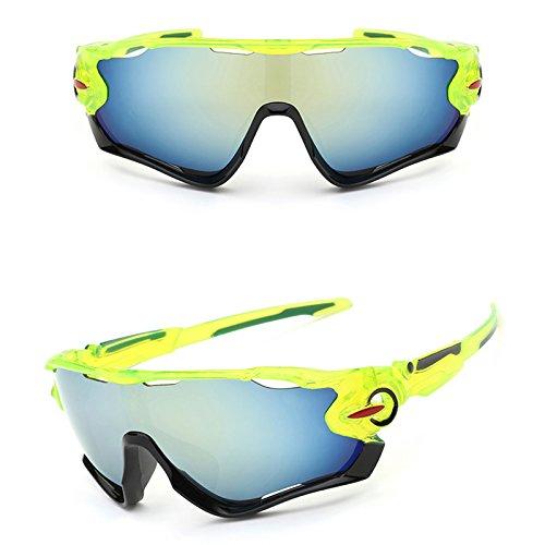 Fahrradbrille Unisex, Weant Sportbrille Klar Sonnenbrillen Männer Schutzbrillen Sonnenbrille Für Herren Damen Radsport Brille UV400 Objektiv Für Reiten Fahren Angeln Laufen Anti-UV Skibrille (Grün) (Grün Skibrille Damen)