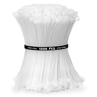 1000pcs Zip Ties White 100mm x 3mm Self Locking Nylon Cable Ties