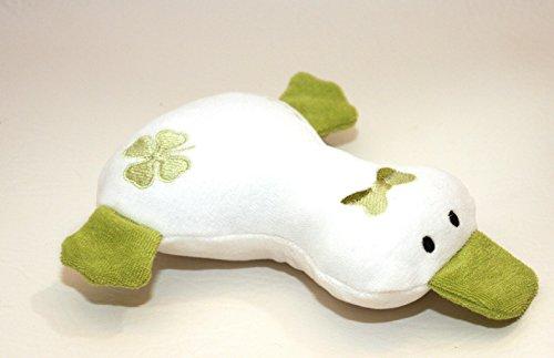 Kuscheltier Ente aus Bio Baumwoll Nicki und Frottee grün, Kleeblatt, handgemacht, Personalisierbar mit Namen, Rassel, Knisterfolie, Glücksklee