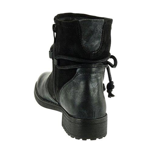 Chaussure bloc bi 5 Noir motard matière Bottine haut Angkorly clouté corde 3 cavalier noeud femme Mode Talon CM ROdqXTTw4x