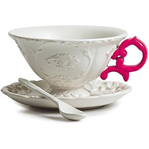 Set da tè seletti tazzina vassoio e cucchiaino i wares idea regalo natale manico fucsia