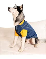 "Oz International Dog Jeans Jacket Vest Shirt Cool Blue Denim Coat Small Medium Dogs Lapel Vests Classic Puppy Blue Vintage Washed Clothes Denim Jacket (Denim Jacket Embroidered Button Closure, 20"")"
