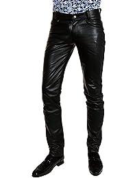 Bockle® HIM lower sehr tief sitzende Herrenlederhose schwarz