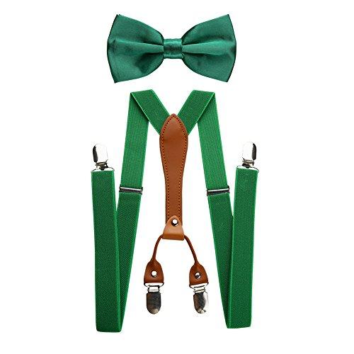 Mens verstellbare elastische Hosenträger und Fliege Set (Grün) -