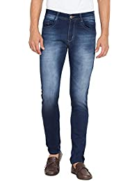 Flying Port Men's Cotton Lycra Blue Mid Rise Slim Fit Low Price Jeans