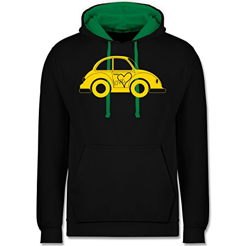 Autos - Liebes Beetle Auto - Kontrast Hoodie Schwarz/Grün