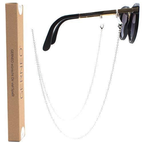 GERNEO - DAS ORIGINAL - Premium Brillenkette & Brillenband in Edelstahl Optik in Silber - Unisex für Lesebrille & Sonnenbrille - SOMMER KOLLEKTION 2019