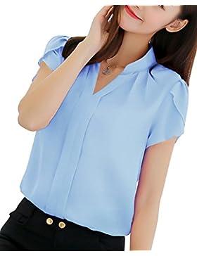 PengGeng Mujeres Camisa Manga Corta Color Sólido Blusa Ocasional Oficina Camiseta