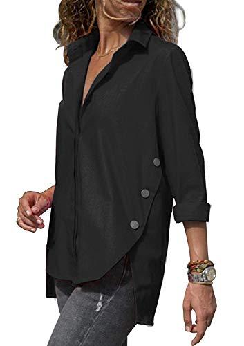 OranDesigne Blusen Damen Hemd Basic Hemdbluse Freizeit Schickes Langarm T-Shirt Oberteile V-Ausschnitt Elegant Langarmshirt Schwarz DE 42