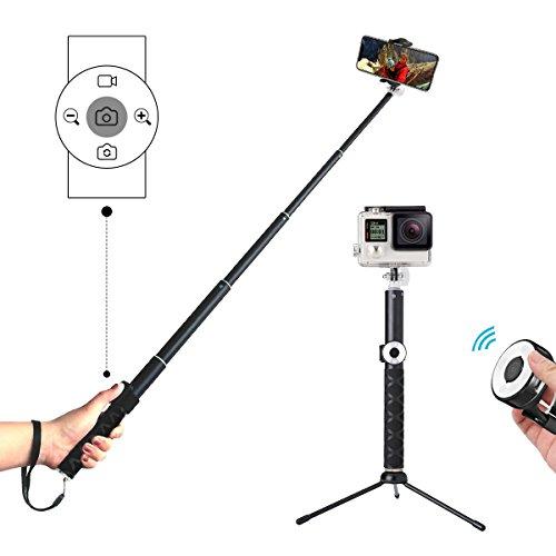 Perche Selfie Bluetooth, Hizek Selfie Stick Trépied avec Télécommande Universel Sans Fil Perche à Selfie Obturateur Télécommande Extensible Monopode Alliage d'Aluminium 270°Rotation pour iPhone,Samsung,Android Smartphones, et Plus - Noir