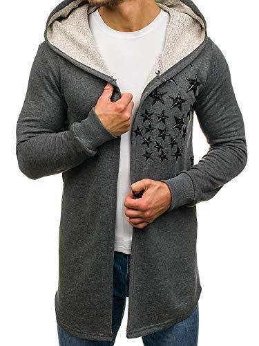BOLF Herren Sweatshirt mit Kapuze Longpullover mit Aufdruck Longpulli Street Style Breezy 171374 Dunkelgrau S [1A1] |