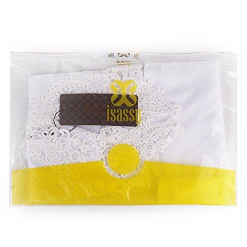 ISASSY [La Nouvelle Version] Débardeur Femme Top Mousseline de Soie sans Manches en Dentelle Broderie Haute - Noir/ Blanc (36/ 38/ 40) Blanc