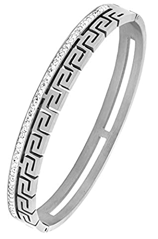 Rhodium 316L Surgical Stainless Steel CZ American Diamond Openable Bangle Cuff Kada Bracelet Men