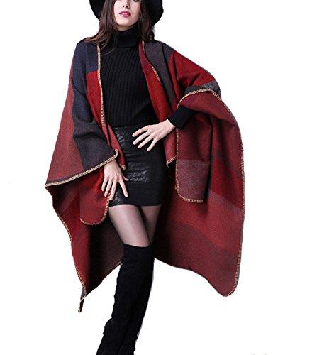Sciarpa Donna Inverno Oversize Caldo Lattice Sciarpa Scialle Red