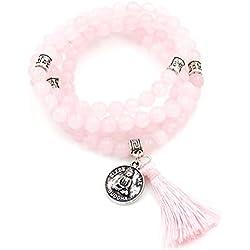 Pulsera de perlas Mala, Rosario budista, Borla Pulsera, Pulsera de Buda me bendiga (Cuarzo rosa) …
