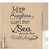 Ccfqiangtie Sunshine Swim Sea Devis De Salle De Bains Wall Art Stickers Stickers Vinyle Home Decor 73X89Cm...