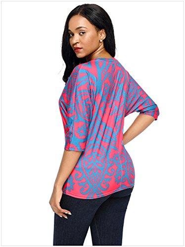 szivyshi Demi Manche Manches Chauve-Souris Damask Baroque Ethnique Tribal Africain Aztèque Blouse Chemisier Shirt Chemise T-Shirt Haut Top Rose Rouge