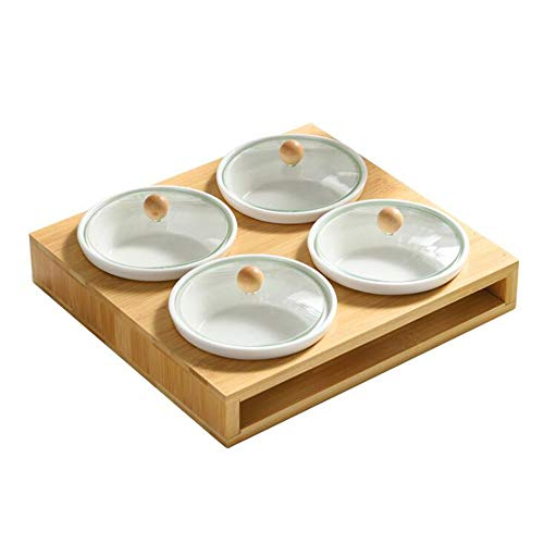 Keramik-Snacks Serving Bowl Set Candy Dish mit Glaslid Bamboo Tray für Party Nuts Fruits Veranstalter Spice Jar,Round Glass Candy Dish Bowl