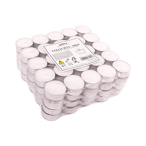 pajoma Teelichter Weiss unbeduftet 100 Stück, 3,8cm Paraffin Brenndauer: 4 Std.