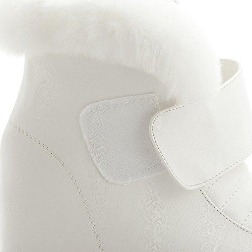 JRenok Botte Femme en Hiver avec des Cristals Boots Courts Décoration de Rivet et Laine de Lapin Chaussure Fourrure Chaleureux Blanc