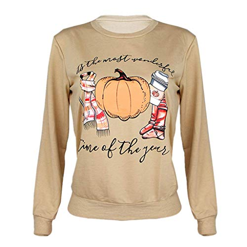 LOPILY Langarm Shirt Damen Halloween Kostüme Damen Gruselig Kürbis Sweatshirts Halloween Party Tshirts 3D Sweatshirts Damen für Halloween Slogan Tshirt Orange Halloween Hoodie (Khaki, 38) (Swat Kostüm Geist)