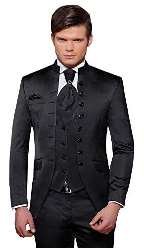 Herren Anzug - 8 teilig - Schwarz Cut Nadelstreifen Designer Hochzeitsanzug PC_01 (60)