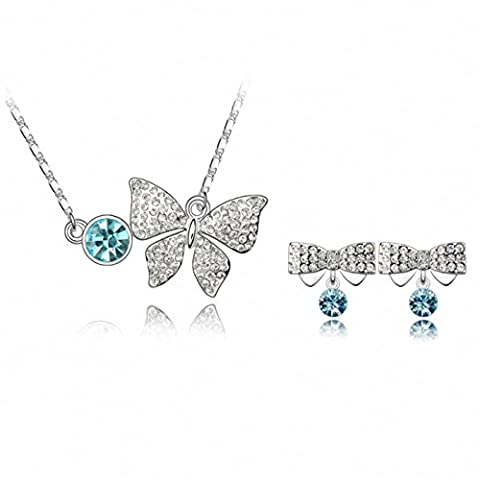 Women Fashion Jewelry Sets Bracelet Necklace Girl Alloy Crystal White Gold Plated Turquoise Aquamarine Jade Butterfly