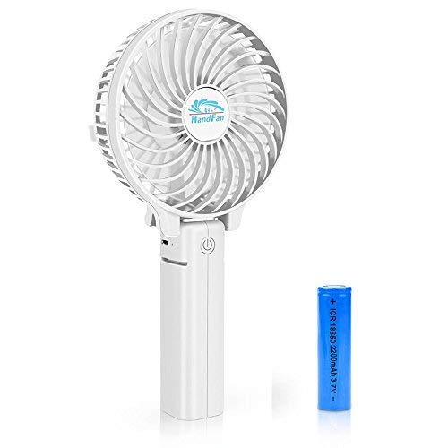 BestFire Portable Handheld Mini Fan Batteriebetriebene Lüfter Elektrische Personal Fans Faltbare Desktop Fans Leise Betrieb 3 Geschwindigkeiten mit 18650 Akku für Home Office Travel (Weiß)