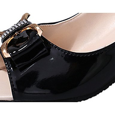 LvYuan Da donna Sandali Comoda PU (Poliuretano) Estate Casual Footing Comoda Con diamantini A stiletto Bianco Nero Beige 5 - 7 cm beige