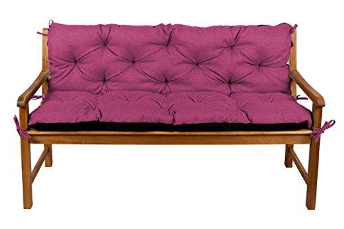 Bankauflage Bankkissen Sitzkissen + Rückenlehne für Hollywoodschaukel Gartenpolster (150x50x50, 16 Pink)