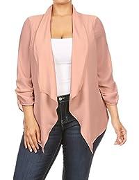 2LUV Women's 3/4 Draped Sleeve Plus Size Loose-Fitting Open-Front Blazer Nude 1XL (GJ8261)