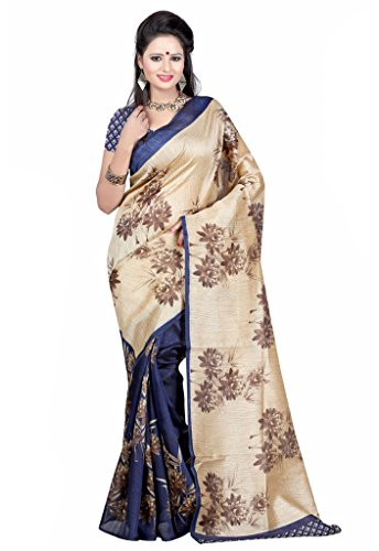 ISHIN Bhagalpuri Art Silk Beige & Blue Printed Women's Saree  available at amazon for Rs.499